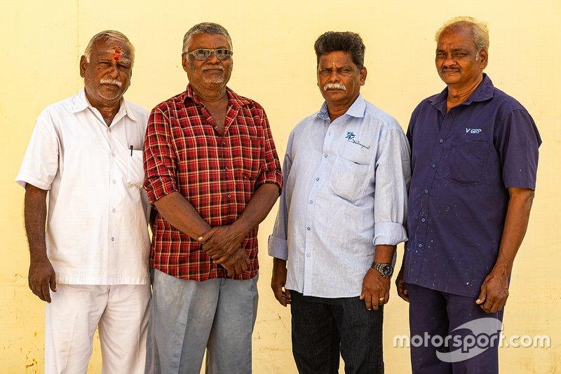 The mechanics who worked closely with Karivardhan - R Kumar, Manohar, Chandran, Veeran