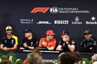 Daniel Ricciardo, Renault F1 Team, Valtteri Bottas, Mercedes AMG F1, Charles Leclerc, Ferrari, Max Verstappen, Red Bull Racing en Robert Kubica, Williams Racing in de persconferentie