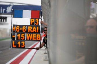 Le panneau des stands pour Romain Grosjean, Lotus F1 Team