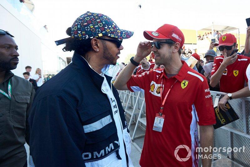 Lewis Hamilton, Mercedes AMG F1 and Sebastian Vettel