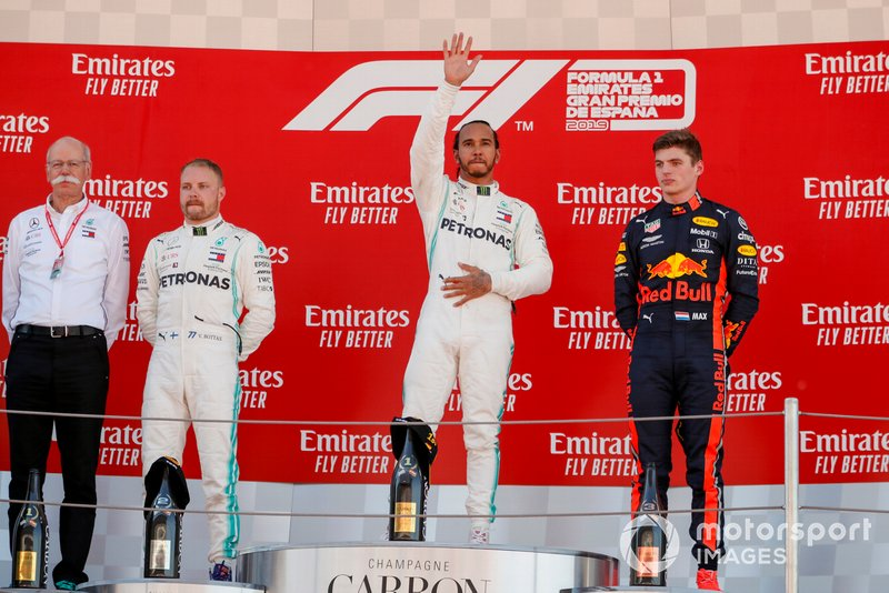 Dr Dieter Zetsche, CEO, Mercedes Benz, Valtteri Bottas, Mercedes AMG F1, Race Winner Lewis Hamilton, Mercedes AMG F1 and Max Verstappen, Red Bull Racing celebrate on the podium