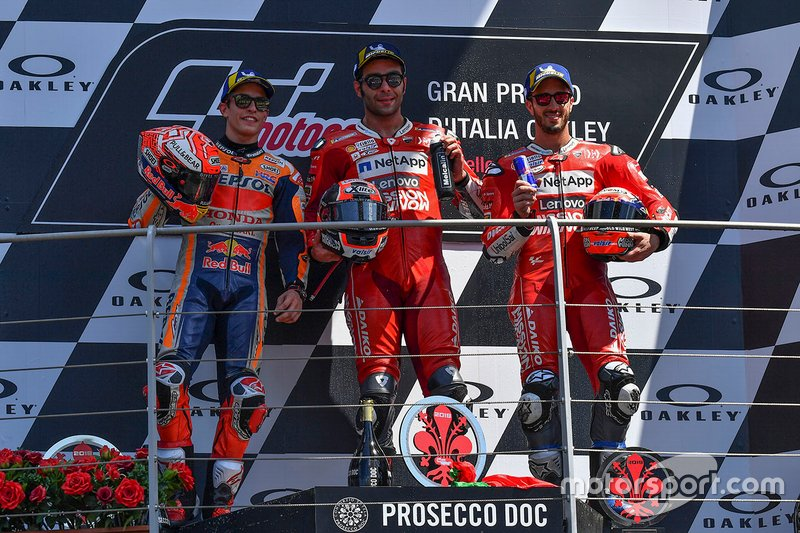 Podium: race winner Danilo Petrucci, Ducati Team, second place Marc Marquez, Repsol Honda Team, third place Andrea Dovizioso, Ducati Team
