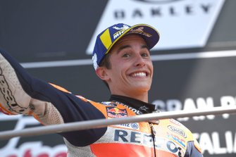 Podium: second place Marc Marquez, Repsol Honda Team, raises eye brows to booing when on podium