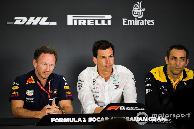 Christian Horner, Red Bull Racing, Toto Wolff, Mercedes AMG y Cyril Abiteboul, Renault F1 Team
