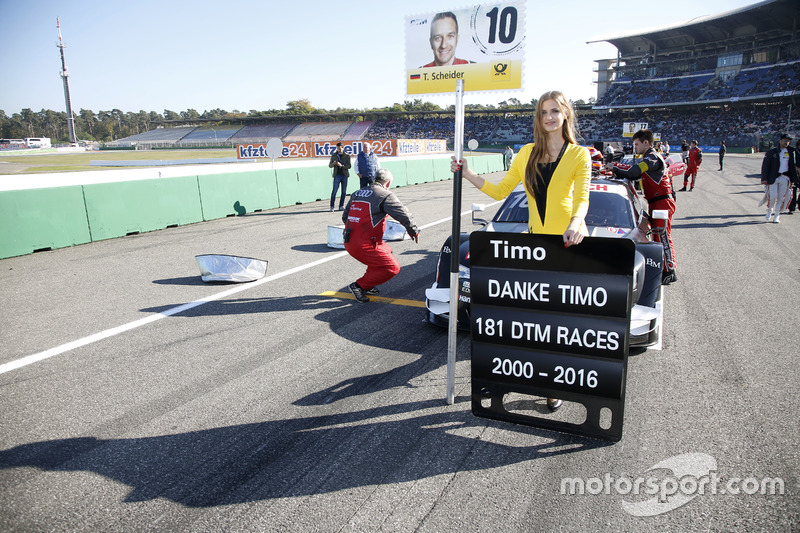 Grid girl of Timo Scheider, Audi Sport Team Phoenix, Audi RS 5 DTM.