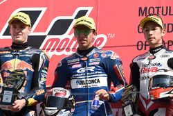 Podium: race winner Enea Bastianini, Gresini Racing Team Moto3, second place Brad Binder, Red Bull KTM Ajo, third place Hiroki Ono, Honda Team Asia