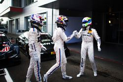 Parc ferme: Tom Blomqvist, BMW Team RBM, BMW M4 DTM; Marco Wittmann, BMW Team RMG, BMW M4 DTM and Bruno Spengler, BMW Team MTEK, BMW M4 DTM
