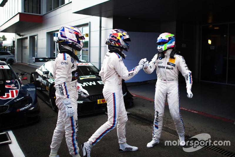 Parco chiuso: Tom Blomqvist, BMW Team RBM, BMW M4 DTM; Marco Wittmann, BMW Team RMG, BMW M4 DTM and Bruno Spengler, BMW Team MTEK, BMW M4 DTM