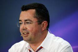 Éric Boullier, Directeur de la Compétition de McLaren lors de la conférence de presse
