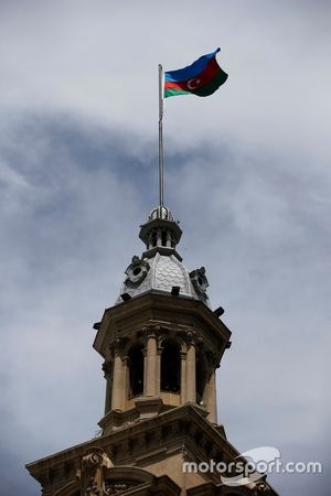 A Azerbaijan flag on a tower