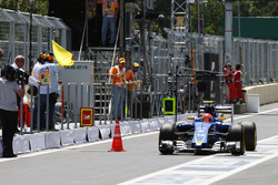 Felipe Nasr, Sauber C35 passes a traffic cone where a drain cover had come away