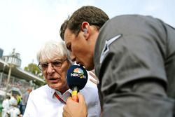 Bernie Ecclestone, with Will Buxton, NBC Sports Network TV Presenter on the grid