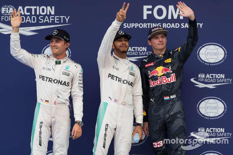 Polesitter Lewis Hamilton, Mercedes AMG F1 Team; 2. Nico Rosberg, Mercedes AMG F1 Team; 3. Max Verstappen, Red Bull Racing