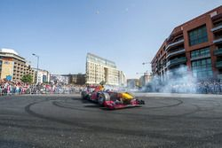 Carlos Sainz Jr. drives the Red Bull RB7 at Beirut Waterfront in Lebanon