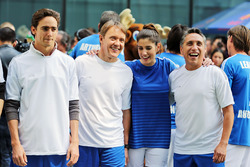 Esteban Gutierrez, Haas F1 Team and Adrian Fernandez, at a charity football match