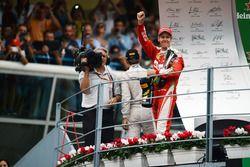 Sebastian Vettel, Ferrari celebrates his third position on the podium