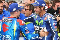 Maverick Viñales, Team Suzuki MotoGP, vainqueur, et Valentino Rossi, Yamaha Factory Racing, troisième