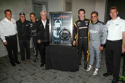 Roger Penske with the 2017 Camaro SS 50th Anniversary Edition pace car steering wheel and drivers Si