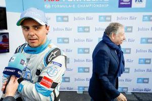 Felipe Massa, Venturi Formula E, is interviewed. Jean Todt, FIA President