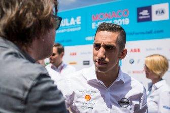 Sébastien Buemi, Nissan e.Dams, talks to the press