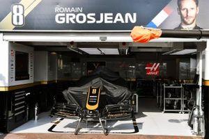 The car of Romain Grosjean, Haas F1 Team VF-19, in the garage