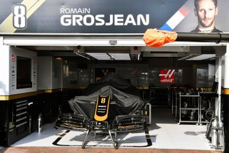 The car of Romain Grosjean, Haas F1 Team VF-19, in the garage