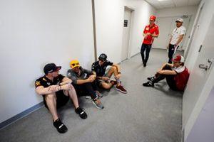 A gathering of drivers including Max Verstappen, Red Bull Racing, Lando Norris, McLaren, George Russell, Williams Racing, Antonio Giovinazzi, Alfa Romeo Racing, Charles Leclerc, Ferrari, and Valtteri Bottas, Mercedes AMG F1