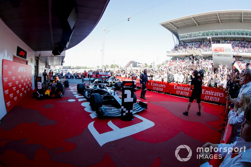 Cars of Race winner Lewis Hamilton, Mercedes AMG F1 W10, Valtteri Bottas, Mercedes AMG W10 and Max Verstappen, Red Bull Racing RB15 in Parc Ferme