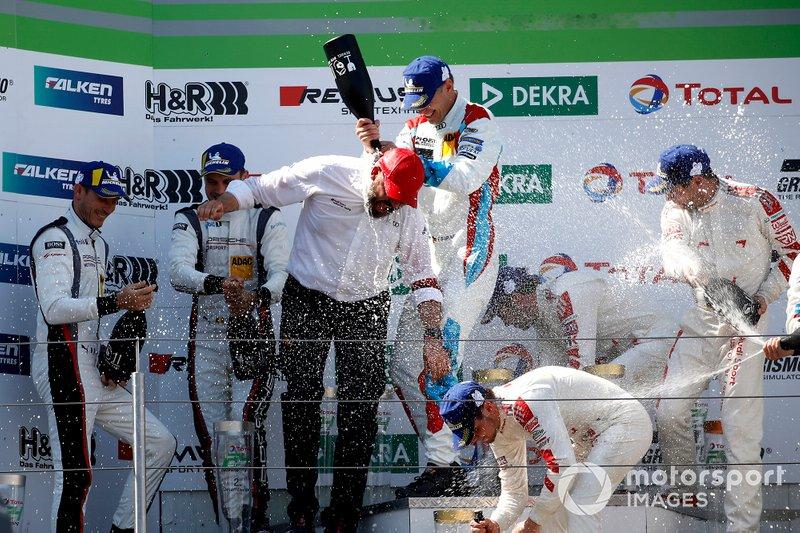 Podium: #4 Audi Sport Team Phoenix Audi R8 LMS: Pierre Kaffer, Frank Stippler, Frédéric Vervisch, Dries Vanthoor with Chris Reinke, Audi Sport