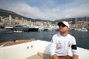 Valtteri Bottas, Mercedes AMG F1, on a boat