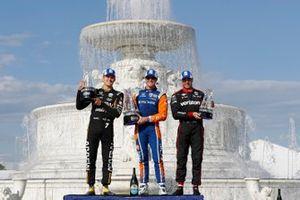 Marcus Ericsson, Arrow Schmidt Peterson Motorsports Honda, Scott Dixon, Chip Ganassi Racing Honda, Will Power, Team Penske Chevrolet, podio