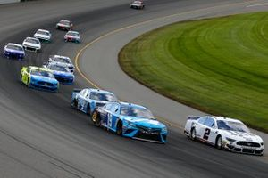Martin Truex Jr., Joe Gibbs Racing, Toyota Camry Auto Owners Insurance and Brad Keselowski, Team Penske, Ford Mustang Miller Lite