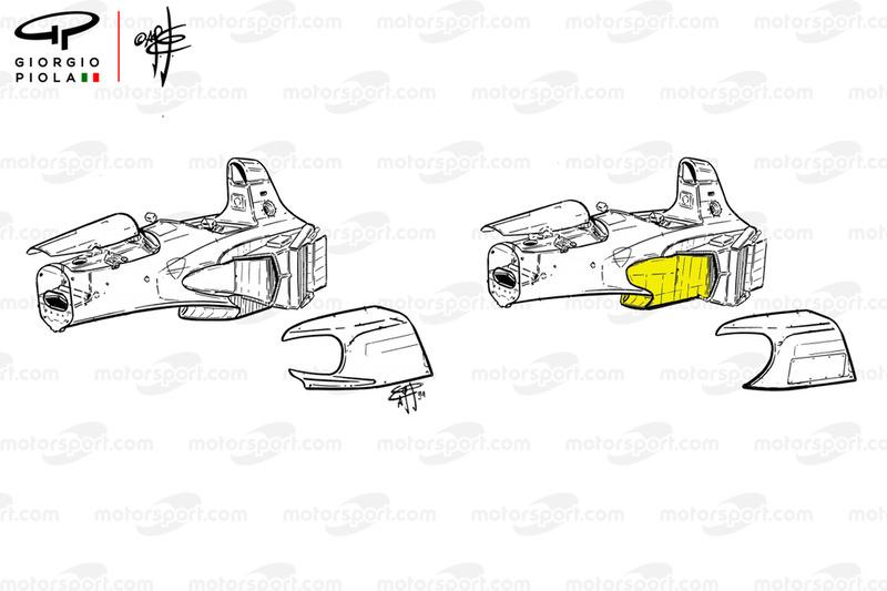 Cambios en el sidepod del Ferrari 412 T1