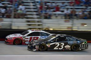 Ryan Blaney, Team Penske, Ford Fusion REV, Blake Jones, BK Racing, Toyota Camry Tennessee XXX Moonshine
