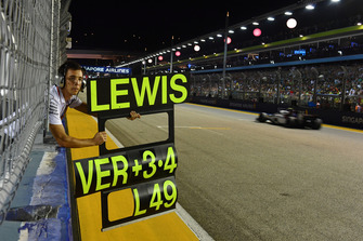 Pit board for Lewis Hamilton, Mercedes AMG F1