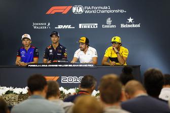 Pierre Gasly, Toro Rosso, Daniel Ricciardo, Red Bull Racing, Fernando Alonso, McLaren, and Carlos Sainz Jr., Renault Sport F1 Team, in the Thursday press conference