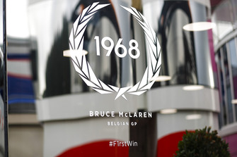 A decal commemorating Bruce McLarens first win in Belgium 1968