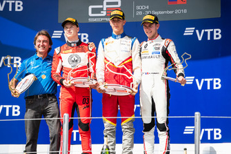 Podium: race winner Leonardo Pulcini, Campos Racing, second place Nikita Mazepin, ART Grand Prix, third place Anthoine Hubert, ART Grand Prix, Adrian Campos