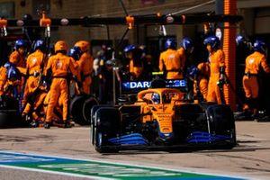 Lando Norris, McLaren MCL35M, leaves his pit box after a stop