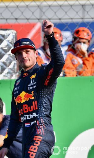 Max Verstappen, Red Bull Racing, 2nd position, in Parc Ferme after Sprint Qualifying