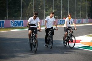 Lando Norris, McLaren MCL35M track walk on bicycles
