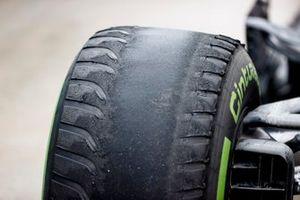 Worn intermediate tyres in Parc Ferme