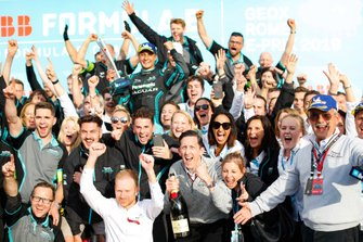Mitch Evans, Panasonic Jaguar Racing, celebrates his, the team's maiden victory
