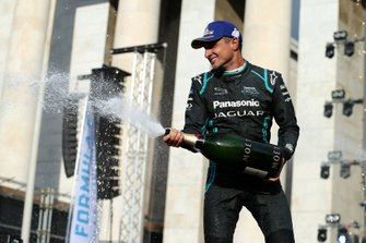 Mitch Evans, Panasonic Jaguar Racing, 1st position, celebrates on the podium