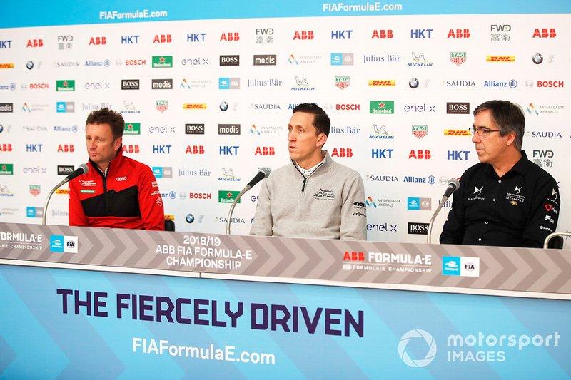 Allan McNish, Team Principal, Audi Sport Abt Schaeffler ve James Barclay, Team Director, Panasonic Jaguar Racing, Mark Preston, Takım Patronu, DS TECHEETAH basın toplantısında