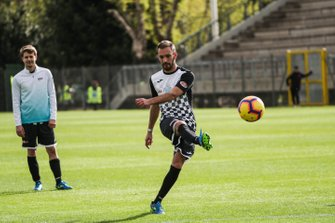 Jean-Eric Vergne, DS TECHEETAH, playing football at the Formula E charity football match