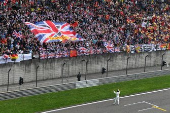 Lewis Hamilton, Mercedes AMG F1, 1st position, celebrates with the fans after the race