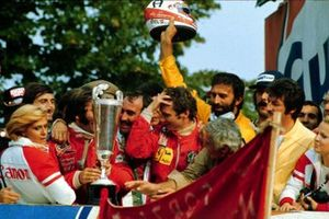 Race winner Clay Reggazoni, 2nd place driver Emerson Fittipaldi, 3rd place driver and New World Driver's Champion Niki Lauda