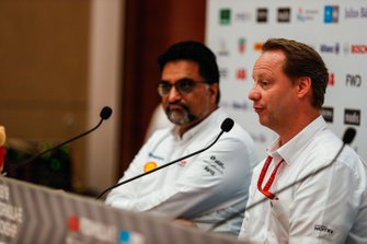 Dilbagh Gill, CEO, Team Principal, Mahindra Racing, Ulrich Fritz, CEO of HWA AG, Gérry Hughes, Team Principal NIO Formula E Team, in the press conference