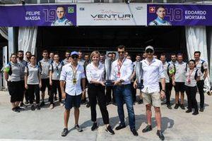 Edoardo Mortara, Venturi Formula E, Susie Wolff, Team Principal, Venturi Formula E, receive the winners' trophies from the previous race in Hong Kong, in which Mortara was declared the winner post-race. Felipe Massa, Venturi Formula E, is also present with the remainder of the Venturi team